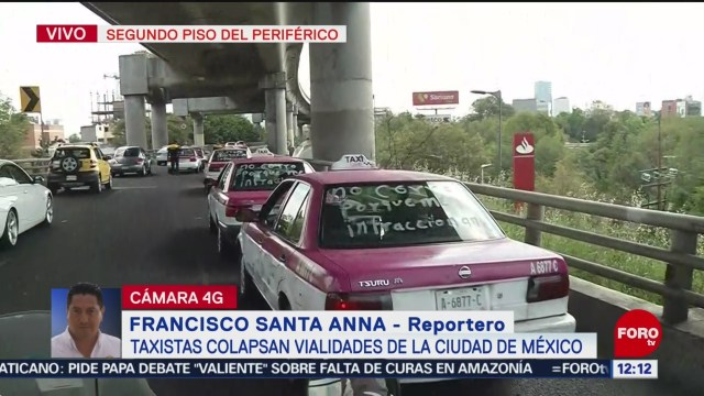 Taxistas se manifiestan en el segundo piso del Periférico Sur, CDMX