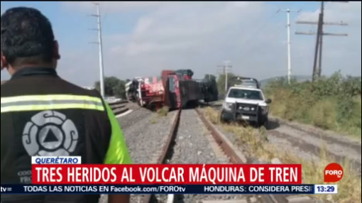FOTO: Tres heridos tras volcadura de máquina de tren, 20 octubre 2019