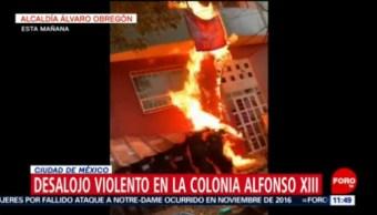 Tres policías lesionados durante desalojo de inmueble en Álvaro Obregón