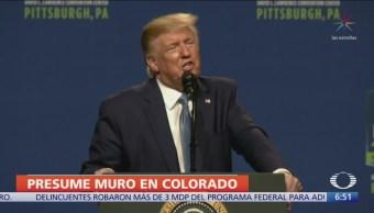 Trump presume muro fronterizo, ¡en Colorado!