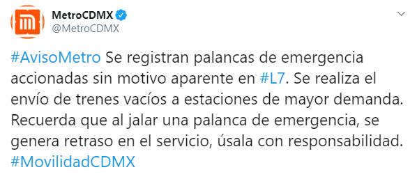 IMAGEN Activan palancas de emergencia en Línea 7 del Metro CDMX (Twitter)