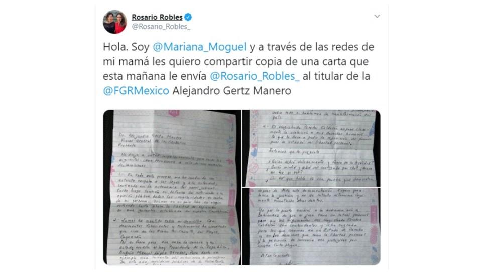 Foto: Rosario Robles envía carta al fiscal Gertz Manero, 22 de octubre de 2019, Ciudad de México