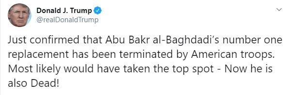IMAGEN Tuit de Trump sobre la muerte del sucesor de Al-Baghdadi (Twitter)
