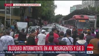 FOTO: Vendedores ambulantes bloquean avenida Insurgentes Eje 3 Sur CDMX
