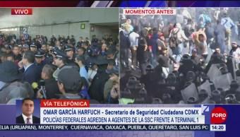 FOTO: 32 oficiales heridos por protestas AICM