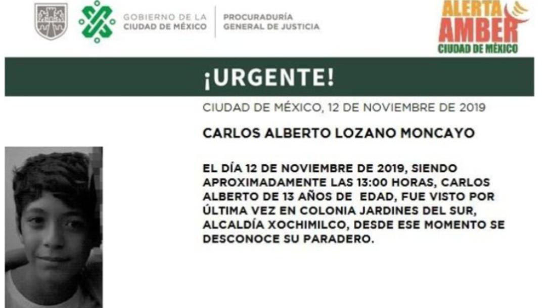 Foto: Alerta Amber por Carlos Alberto Lozano Moncayo, 13 de noviembre de 2019 (Twitter PGJ CDMX)