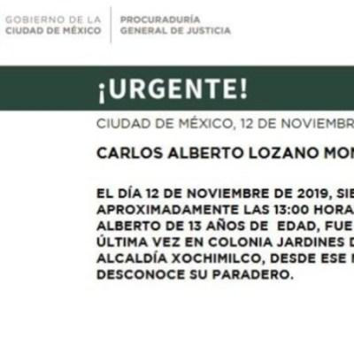 Activan Alerta Amber para localizar a Carlos Alberto Lozano Moncayo
