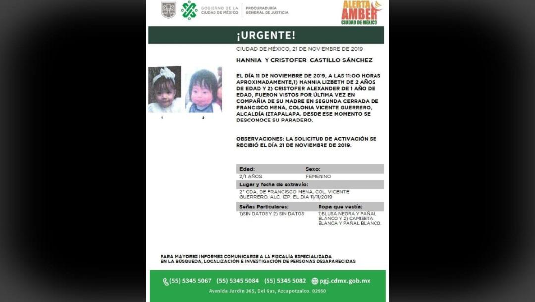 Foto: Activan Alerta Amber para localizar a Hannia y Cristofer Castillo Sánchez