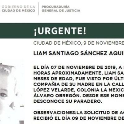 Activan Alerta Amber para localizar a Liam Santiago Sánchez Aquino