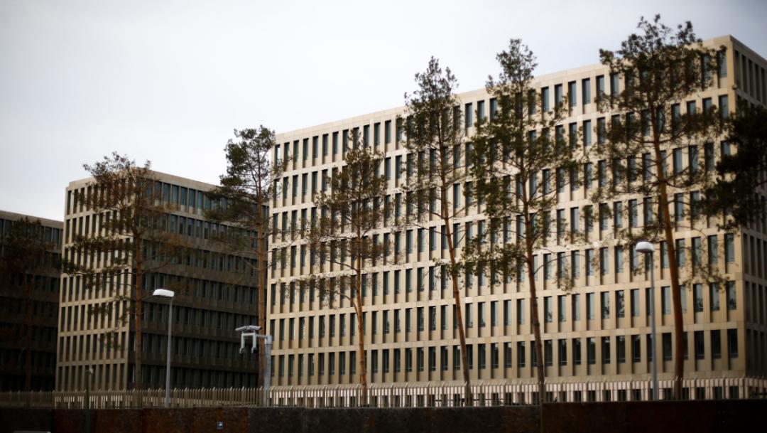 Imagen: Los directores de las agencias de seguridad externa e interna inauguraron el Centro para el Entrenamiento de Servicios de Inteligencia, cerca del lugar donde antes estaba el Muro de Berlín, 12 de noviembre de 2019 (AP)