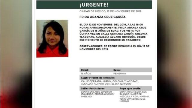 Foto:Activan Alerta Amber para localizar a Frida Aranza Cruz García, 14 noviembre 2019