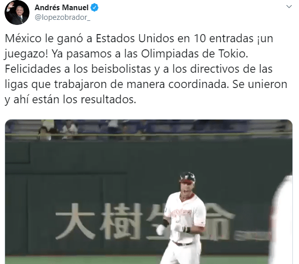 FOTO México logra pase a Juegos Olímpicos en béisbol, AMLO felicita a jugadores (Twitter)