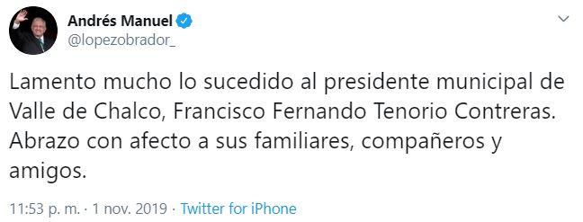 IMAGEN AMLO lamenta lo ocurrido a presidente municipal de Valle de Chalco