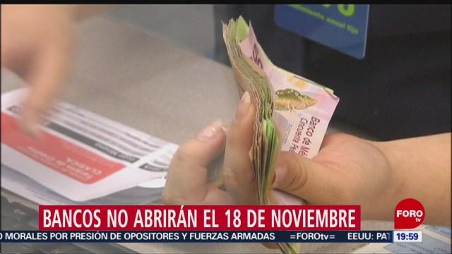 FOTO: Bancos no abrirán el lunes 18 de noviembre, 14 noviembre 2019