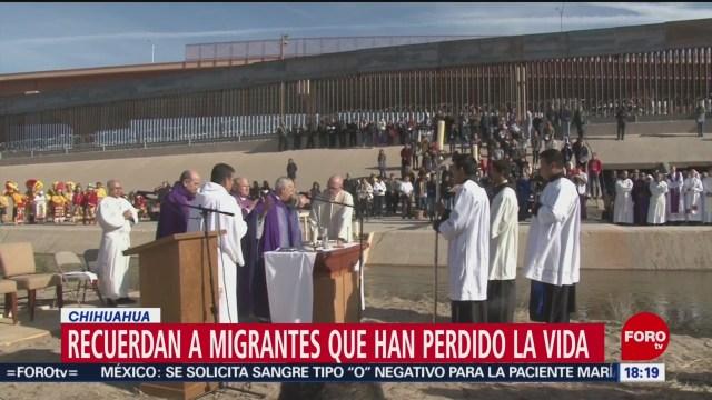 Celebran misa binacional en la frontera por Día de Muertos