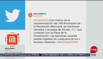 FOTO:Cerrarán accesos al Metro Zócalo por desfile del 20 de noviembre, 19 noviembre 2019