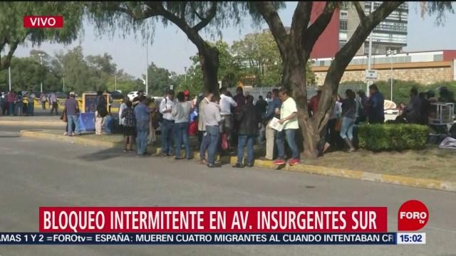 FOTO: Continúa bloqueo intermitente avenida Insurgentes Sur