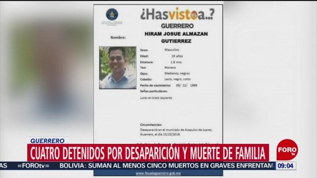 FOTO:Detienen a 4 por desaparición y muerte de familia en Guerrero, 16 noviembre 2019