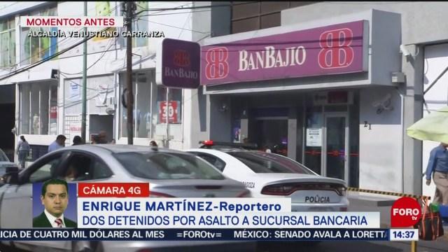 FOTO: Dos detenidos tras asalto banco alcaldía Venustiano Carranza