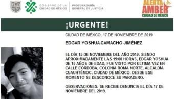 Foto: Activan Alerta Amber para localizar a Edgar Yoshua Camacho Jiménez, 19 de noviembre de 2019 (@PGJDF_CDMX)