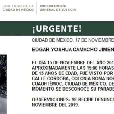 Activan Alerta Amber para localizar a Edgar Yoshua Camacho Jiménez en CDMX