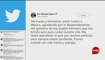 FOTO: Evo Morales confirma que viene a México, 11 noviembre 2019