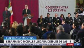 Evo Morales contará con seguridad en México, dice Ebrard