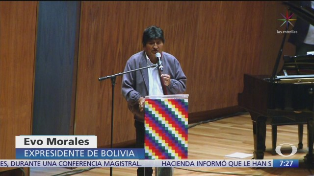 Evo Morales es interrumpido durante conferencia en CDMX