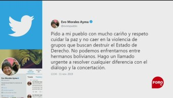 FOTO: Evo Morales llama diálogo Bolivia