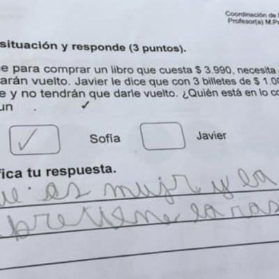 """Niño responde examen diciendo que """"las mujeres siempre tienen la razón"""""""