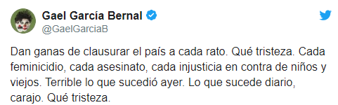 IMAGE Gael García condena ataque contra familia LeBarón (Twitter)