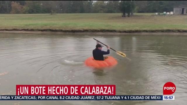 FOTO: Granjero convierte mega calabaza bote