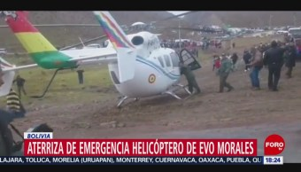 FOTO: Helicóptero donde viajaba Evo Morales aterriza emergencia