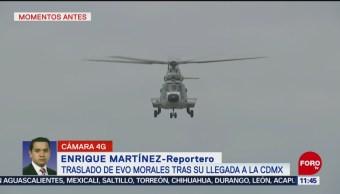 Helicóptero traslada a Evo Morales tras llegar a la CDMX