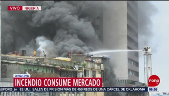 Incendio consume mercado de Nigeria