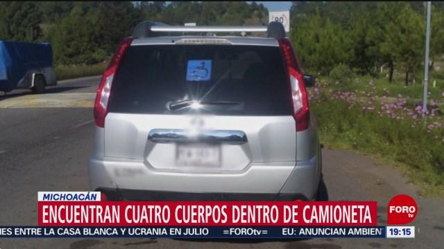 FOTO: Investigan hallazgo de cuatro cuerpos en una camioneta en Michoacán, 9 noviembre 2019