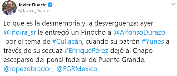 IMAGEN Javier Duarte critica a panista que dio Pinocho a Durazo (Twitter)