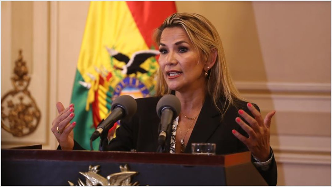 Imagen: Jeanine Áñez tuvo una videollamada con Juan Guaidó, 16 de noviembre de 2019 (EFE)