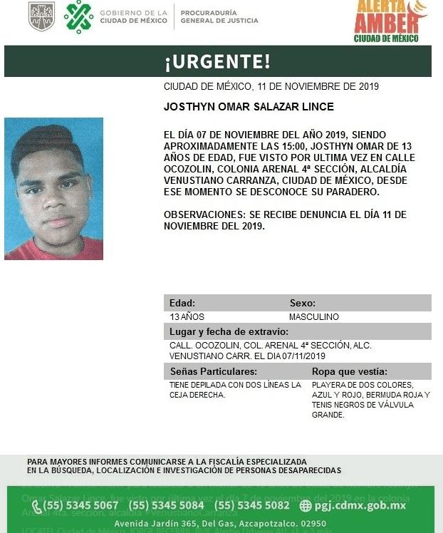 Foro: Activan Alerta Amber para localizar a Josthyn Omar Salazar Lince, 12 de noviembre de 2019 (Twitter @PGJDF_CDMX)}