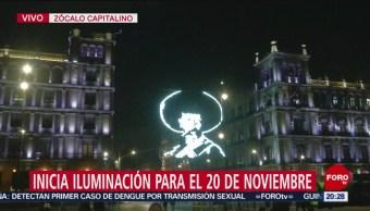 Foto: Luminaria Alusiva Revolución Mexicana Zócalo CDMX 8 Noviembre 2019