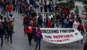 Marcha de normalistas en Chiapas