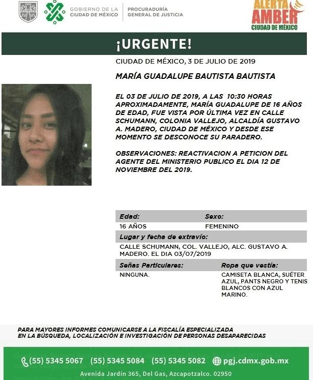 Foto: Alerta Amber por María Guadalupe Bautista Bautista, 13 de noviembre de 2019 (Twitter PGJ CDMX)