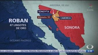 Minera de Sonora reporta robo de 47 lingotes de oro