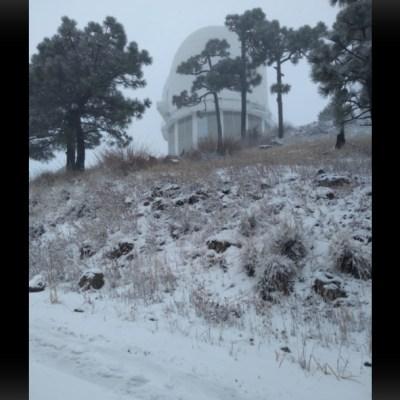 Primera nevada de la temporada cae en sierra de Cananea