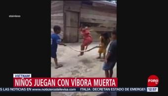 Niños juegan a brincar la cuerda, pero con víbora muerta