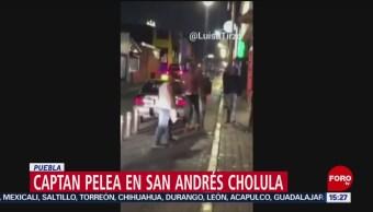 FOTO:Pelean dos hombres ebrios en calles de Puebla, 19 noviembre 2019