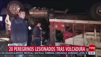 FOTO: Peregrinos resultan heridos tras volcadura en Puebla, 17 noviembre 2019