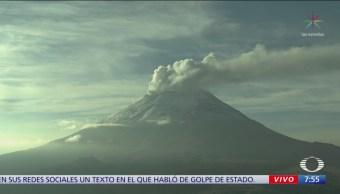 Popocatépetl registra gran exhalación de vapor de agua