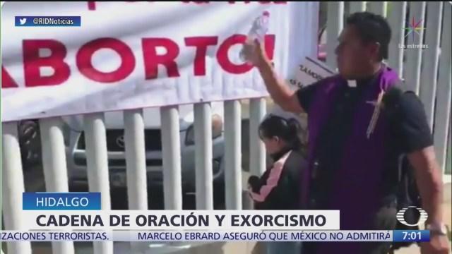 Realizan exorcismo en Hidalgo para frenar iniciativa sobre aborto