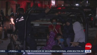 FOTO: Registran enfrentamiento entre pobladores y policías en Oaxaca, 10 noviembre 2019